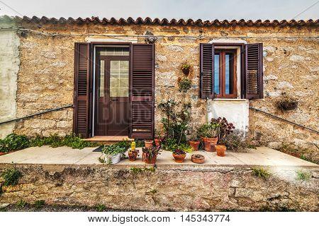 door in a picturesque corner in Sardinia Italy