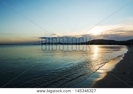 colorful sunset in Alghero foreshore in Sardinia