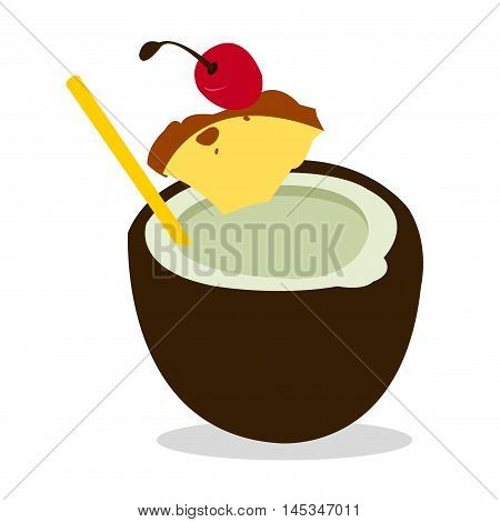 Pina Colada Cocktail on White Background. Isolated vector illustration beverages and summer theme.