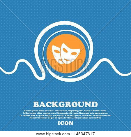 Mask Icon Sign. Blue And White Abstract Background Flecked With Space For Text And Your Design. Vect