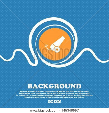 Cannon Icon Sign. Blue And White Abstract Background Flecked With Space For Text And Your Design. Ve