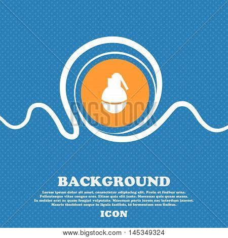 Hand Grenade Icon Sign. Blue And White Abstract Background Flecked With Space For Text And Your Desi