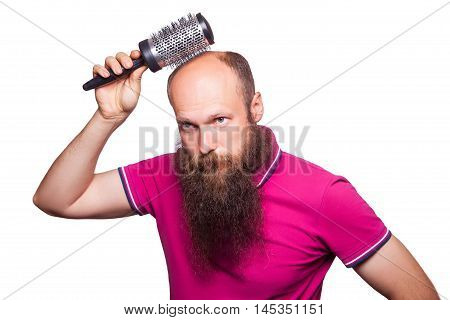 Adult Unhappy Man Hand Holding Comb On Bald Head