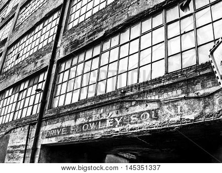 Abandoned paper bag factory in Falkland, Fife, Scotland. The Smith Anderson Group factory was in production from 1968 to 2013