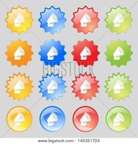 Gramophone Icon. Sign. Big Set Of 16 Colorful Modern Buttons For Your Design. Vector