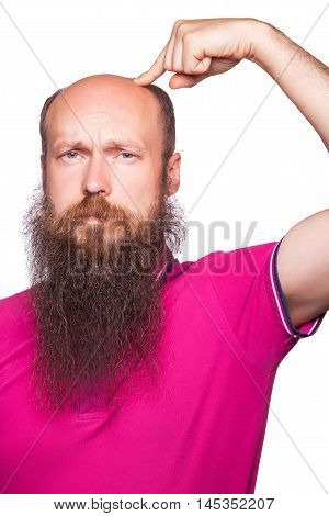 Unhappy Man Showing Baldness With Finger