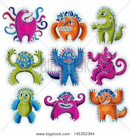 Set of character monsters vector flat illustration collection of cute mutants. Drawing of weird beast emotional expression.