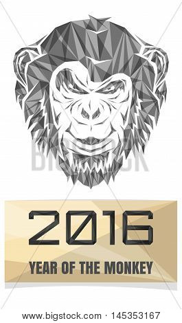 2016 Chinese New Year of the Monkey. Monkey composed of polygon triangles. Stock Vector Monkey. Christmas greeting card with a monkey.
