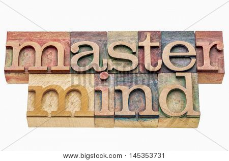 master mind banner in letterpress wood type printing blocks isolated on white