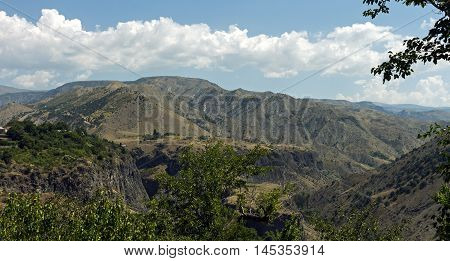 Landscape in Armenian mountains village Garni, Transcaucasia.
