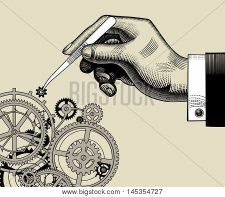 Hand with tweezers and gear wheels of clockwork. Vintage stylized drawing