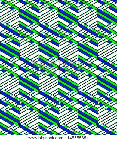 Endless green symmetric pattern graphic design. Geometric intertwine optical composition