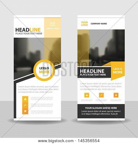 Yellow black roll up business brochure flyer banner design cover presentation abstract geometric background modern publication x-banner and flag-banner layout in rectangle size.