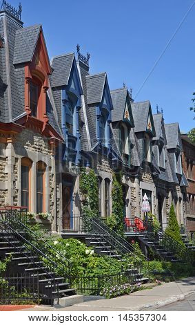 MONTREAL CANADA AUGUST 17 2016: Typical Saint Louis Square row of colored townhouse in Montreal
