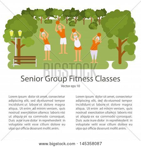 Elderly people doing exercises in different poses. Healthy active lifestyle retiree. Sport for grandparents, elder fitness, yoga for Seniors in park. Isolated Vector illustration eps10