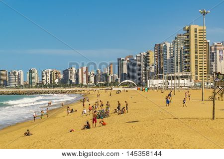 FORTALEZA, BRAZIL, DECEMBER - 2015 - Cityscape scene depicting the coastline and beach surrounded by modern modern buildings in Fortaleza Brazil