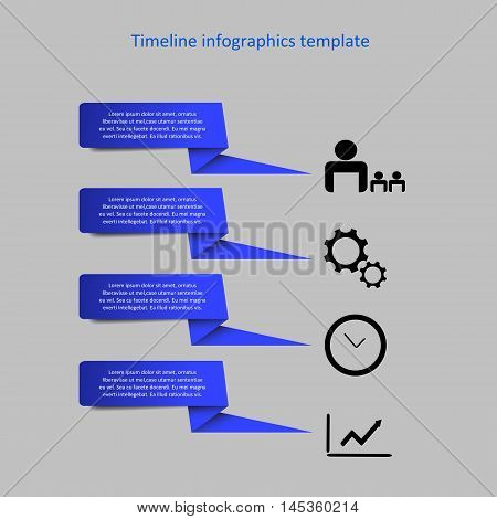 Infographic timeline vector. Company history template. Biggest milestones and events with descriptions.