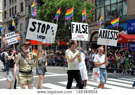 New York City - June 25, 2011: Marchers at the 2011 Gay Pride Parade on Fifth Avenue