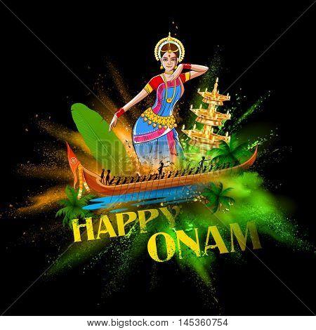 illustration of Boat Race of Kerla with bharatanatyam dancer on Onam