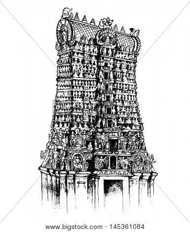 illustration of Meenakshi Amman Temple of Madurai, Tamil Nadu