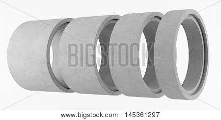 Concrete rings for wells isolated on white background. 3D rendering