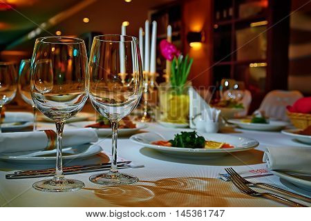 restaurant set. Romantic Fine dining table set. Romantic Dinner