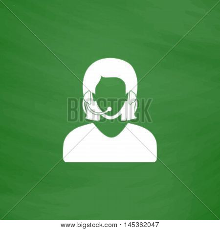 telephonist Simple line vector button. Imitation draw with white chalk on blackboard. Flat Pictogram and School board background. Outine illustration icon