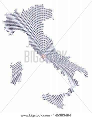 Italy map radial dot pattern. Blue dots going from the capital Rome outwards and form the boot silhouette of the country and the islands Sicily and Sardinia. Illustration on white background.