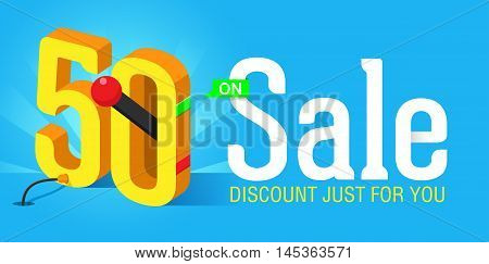 Super Sale banner with switch on off. Big sale. Sale poster. Discount just for you and special offer. 50% off.