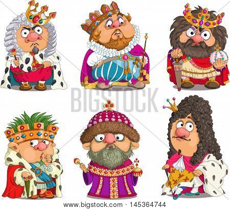 The comic caricature. Cartoon. Vector. Set Funny Kings. Travesty cartoon. Characters. Isolated objects.