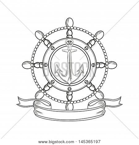 rudder anchor ribbon cartoon pirate tattoo marine nautical icon. Black white isolated design. Vector illustration