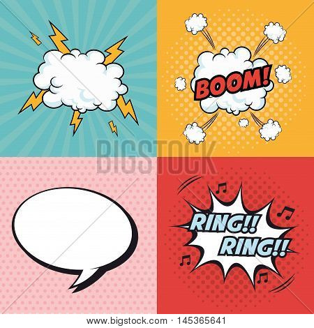 boom bubble ring cloud thunder explosion cartoon pop art comic retro communication icon. Colorful design. Vector illustration