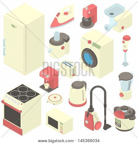 Household appliance icons set in cartoon style. Consumer electronics set collection vector illustration