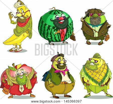 Cartoon. Vector. Set Funny Fruits hipsters. Travesty cartoon. Characters. Isolated objects. Banana watermelon kiwi apple pear lemon.