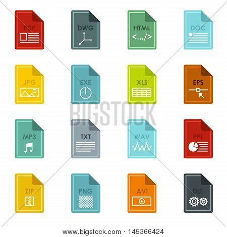 File format icons set in flat style. Document files set collection vector illustration