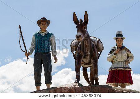 Monument In Plaza De Armas (main Square) In Maras