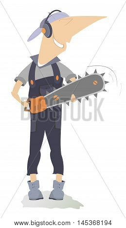 Smiling worker with chainsaw. Smiling worker holding a chainsaw