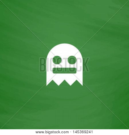 ghost Simple line vector button. Imitation draw with white chalk on blackboard. Flat Pictogram and School board background. Outine illustration icon