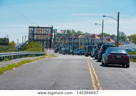 Manasquan NJ US -- September 2, 2016. Traffic backs up when the Glimmer Glass drawbridge is up. Editorial Use Only.