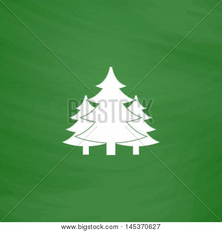 chritmas spruce Simple line vector button. Imitation draw with white chalk on blackboard. Flat Pictogram and School board background. Outine illustration icon