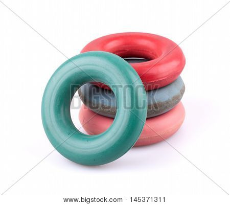 Four rubber hand rings trainers for exercise isolated on white background.