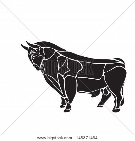 black and white engrave isolated vector bull