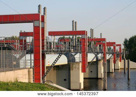 Modern water barrier in Hamburg Germany Built in 2003 in Billwerder Bucht