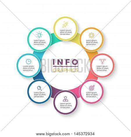 Eight steps infographics. Diagram with 8 parts. Vector design element.