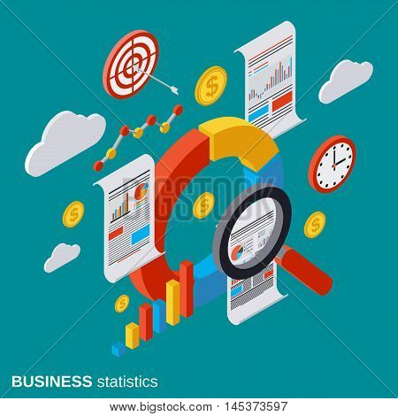 Business statistic, analytics, report, financial audit flat isometric vector concept