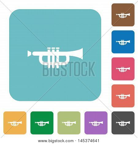 Flat trumpet icons on rounded square color backgrounds.