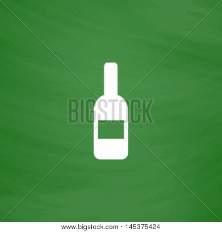 Wine Simple line vector button. Imitation draw with white chalk on blackboard. Flat Pictogram and School board background. Outine illustration icon