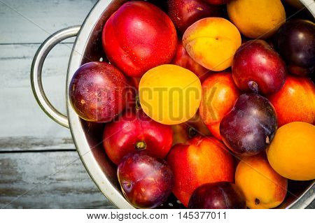 Stone Autumn fruit on the wooden table flat view.
