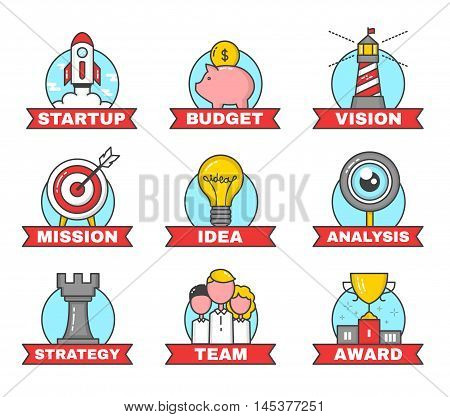 Set of modern flat line design illustrations for Startup. 9 color business concept icons