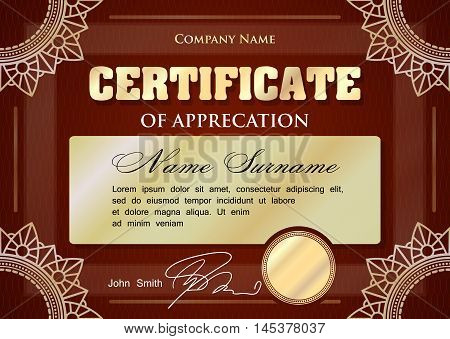 Certificate or diploma template design dark red and gold tones